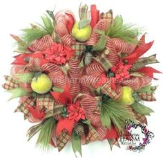 Deco Mesh CHRISTMAS Wreath For Door or Wall Burlap Ribbon Rustic Beaded Apples Pine cones by www.southerncharmwreaths.com by erica
