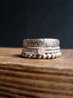 Moonstone & Sterling Silver Stacking Rings | Nafsika on Etsy