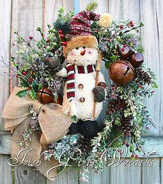 Rustic Adorable Snowman Wreath, Woodland Snowman Christmas Sleigh bells