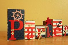 Personalized Nautical Wood Blocks -Letter Blocks- Nautical Nursery- Nautical Party- Nautical Birthday by AirplanesToZebras on Etsy