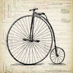 Antique High Heel Bicycle, Digital Download for Iron on Transfer Papercrafts Pillows T-Shirts Tote Bags Burlap No 02060