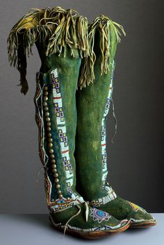 unknown Kiowa artist (Kiowa), High Top Moccasins, ca. 1890/1900, leather, rawhide, paint, metal, and glass beads