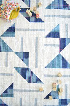 aqua Custom Made-to-Order Quilt black and white Tri-colored Contemporary Quilt