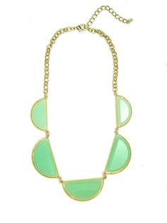 Mint Milky Crescent Stone Statement Bib Necklace