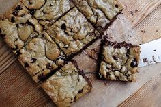 Brown butter blondies - Extra chocolate chips. Hella brown sugar. An overflowing tablespoon of vanilla extract.