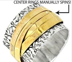 Textured Sterling Silver Multi Spinner Ring Sz 7.5. Starting at $1 on Tophatter.com!