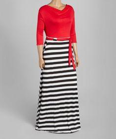 976a94a1abc Red Stripe Tie-Waist Maxi Dress - Plus Plus Dresses