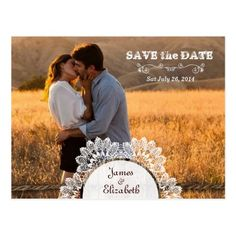 Lace Wedding Save the Date Rustic Barn Save the Date Postcard