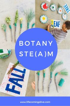 Looking for fall-themed STE(A)M? Excite your child's learning in botany, engineering, and art! Make DIY natural paintbrushes and use them for a fall-themed tape resist art project. Diy Crafts For Kids, Fall Crafts, Projects For Kids, Project Ideas, Art Activities For Toddlers, Preschool Activities, Steam Activities, Stem Science, Science Ideas