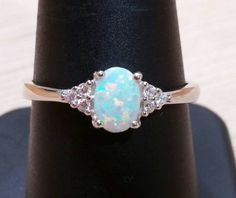 Silver Ring White Opal by AlphaVariable on Etsy