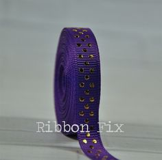 "2 yards 3/8"" Purple & Gold Swiss Dot Print Grosgrain Ribbon - US Designer - Bling Dots - Sparkle - Wedding - Gift Jewelry - Dog Collar Leash"