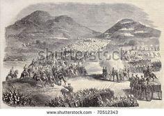 Old Illustration Of Samsa Battlefield In Morocco, During Spanish ...