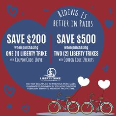 The Valentine's Day Sale ❤️ Riding is Better in Pairs ❤️ . Electric Trike, Tricycle, Liberty, Cycling, February, How To Apply, Valentines, Bike, Good Things