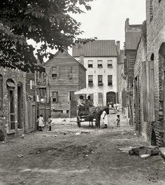"Charleston, South Carolina, circa 1920. ""Street scene with horse and wagon."""