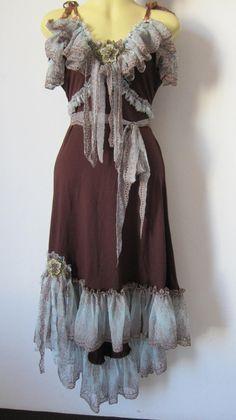 yummy chocolate bohemian gypsy dress with ruffles of by wildskin, $90.00  want!!!