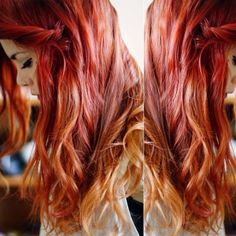 extension a clip shatush rosso red ombre hair