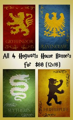 Harry Potter movie poster movie art film print harry potter art poster print All 4 Hogwarts Banners (11x17 size). $40.00, via Etsy.