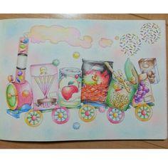 . お菓子の汽車. . 甘い蒸気が出ています♡ . メルヘン~☆*. . #世界のsweetsdishes #coloringbook #coloriage #大人の塗り絵 #大人のぬりえ #西脇エリ #コロリアージュ #メルヘン