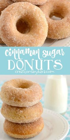 These Cinnamon Sugar Baked Donuts are easy to make, and just melt in your mouth!… These Cinnamon Sugar Baked Donuts are easy to make, and just melt in your mouth! Some of the best baked donuts you will ever try. Baked Doughnut Recipes, Baked Doughnuts, Easy Cookie Recipes, Baking Recipes, Sweet Recipes, Easy Baked Donut Recipe, Easy Donut Recipe Without Yeast, Easy Homemade Donuts Recipe No Yeast, Bisquick Donut Recipe