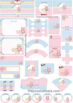 kit CORUJAS - ROSA, AZUL E BRANCO Baby Girl Clipart, Diy And Crafts, Paper Crafts, Bird Party, Baby Clip Art, Freebies, Tea Party Birthday, Party Kit, Journal Cards