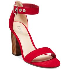 Bar Iii Mikayla Block Heel Sandals, ($70) ❤ liked on Polyvore featuring shoes, sandals, red, chunky-heel sandals, red shoes, bar iii shoes, block-heel sandals and chunky shoes