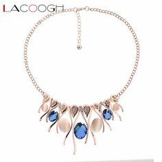 Lacoogh Gorgeous gold color Crystal opal rhinestone choker female short necklaces & pendants women jewelry collier ras de cou
