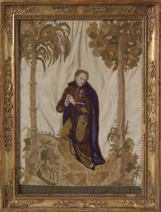 Antique Beadwork Embroidery Picture of a Monk - ID Image 1 Beadwork, Needlework, Embroidery, Antiques, Blog, Pictures, Crafts, Painting, Image