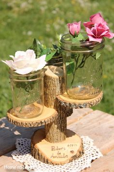 Custom Names Rustic Wedding Log 3 Tiered Stand With Personalized / Customizable Base Wedding Table Centerpiece. $30.00, via Etsy.