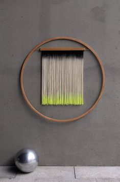 Wood, cotton, brass 36 inches diameter Sulfuric neon yellow + Charcoal Custom colors available Yarn Wall Art, Yarn Wall Hanging, Diy Wall Art, Diy Wall Decor, Hanging Art, Modern Wall Art, Diy Art, Wall Hangings, Art Decor