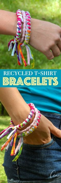 These colorful t-shirt bracelets are an easy to make recycled craft project and are perfect for teenagers or preteens! #recycledcraft #recycle #reuse #bracelets #teencrafts