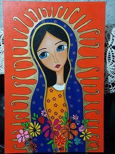 Religious Icons, Religious Art, Virgin Mary Art, Jesus Art, Learn Art, Arte Popular, Christmas Paintings, Mexican Folk Art, Sacred Art
