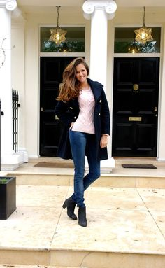 The Londoner in Zara coat and Crumpet jumper