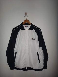Vintage 1990's Fila Biella Italia International White Running Jacket Zip Front Windbreaker Warm Up by Smokevintageclothing on Etsy