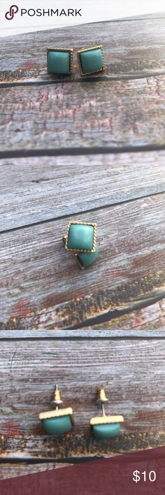 << Turquoise & Gold Square Stud Earrings >> Add a simple little turquoise flare with these small square studs! Hypo allergenic Jewelry Earrings