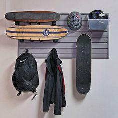 Board Sports Flow Wall Storage Set by Flow Wall on Skateboard Storage, Skateboard Decor, Skateboard Bedroom, Skateboard Furniture, Storage Sets, Wall Storage, Wall Racks, Sports Equipment Storage, Surf Room