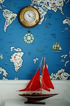 "Wallpaper. The map wallpaper in the bathroom is ""Ralph Lauren's Expedition Novelty Map Wallpaper in Baltic Blue"". #Wallpaper"