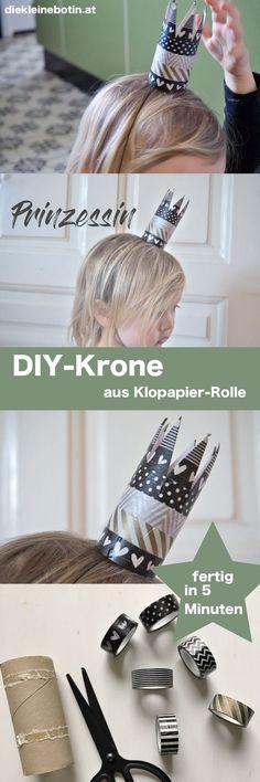 Schnell eine Krone basteln: in 5 Minuten ist die kleine Krone aus einer Klopapier-Rolle fertig!