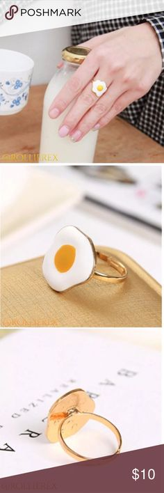 """Fried Egg Ring Such a cute & whimsical ring! New in package. Great to give to anyone who """"eggs you on"""" to those who """"crack you up.""""    Stocking stuffer    No Trades   4 for $15 • 5 for $20 All $12 items or less Jewelry Rings"""