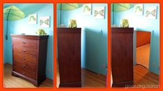 """Behind this dresser was an unused storage room, soon to be known as """"The Secret Treasure Room"""". Secret Space, Secret Rooms, Small Storage, Storage Spaces, Secret Storage, Hidden Storage, Storage Room, Hidden Rooms, Old Dressers"""
