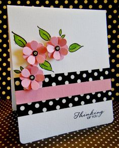 handmade greeting card: Thinking of You by Lisa Young . black and white with pink and splashes of green . luv how the polka dot print paper is echoed in the flower centers . Handmade Greetings, Greeting Cards Handmade, Washi Tape Cards, Get Well Cards, Pretty Cards, Paper Cards, Creative Cards, Flower Cards, Scrapbook Cards
