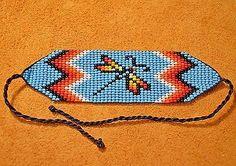 Glass Seed Bead Loom Work Dragonfly Beadwork Bracelet, Colombia, South America