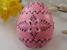 Easter Egg in Pink, Hand Painted Chicken Egg, Wax Embossed Pysanky, Polish Pisanki on Etsy, $19.95