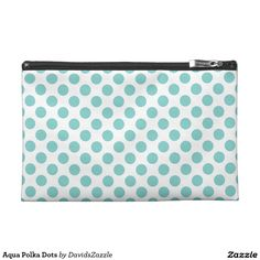 Aqua Polka Dots Accessory Bag   Available on many products! Hit the 'available on' tab near the product description to see them all! Thanks for looking!     @zazzle #art #polka #dots #shop #chic #modern #style #circle #round #fun #neat #cool #buy #sale #shopping #men #women #sweet #awesome #look #accent #fashion #clothes #apparel #tote #bag #accessories #accessory #compact #mirror #hand #purse #clutch #cosmetic #makeup #messenger #bicycle #aqua #blue #light #dark #white