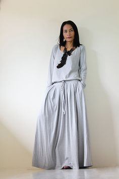 Light Grey Long Sleeve maxi dress by Nuichan, $59.00 I AM MOST DEFINITELY NOT A DRESS GIRL BUT THIS LOOKS COMFY