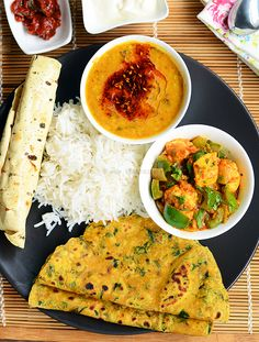 List of Indian lunch menu ideas, choose from more than 60 menu ideas with recipes links and tips to prepare the lunch Lunch Recipes Indian, Vegetarian Recipes, Cooking Recipes, Healthy Recipes, Cooking Food, Vegetarian Cooking, Dinner Recipes, Veg Thali, Indian Street Food