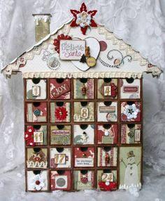 Handmade wooden scrapbooking advent calendar