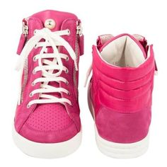 Preowned Chanel Sneakers In Pink Fuchsia Velvet And Leather, Size 38fr (£920) ❤ liked on Polyvore featuring shoes, sneakers, pink, leather sneakers, pink velvet shoes, fuschia shoes, pink sneakers and chanel sneakers