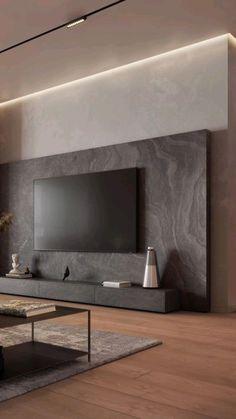 Tv Unit Interior Design, Interior Design Living Room, Tv Wall Design, Modern Living Room Design, Tv Cabinet Design Modern, Modern Tv Room, Modern Decor, Modern Tv Wall Units, Living Room Tv Unit Designs