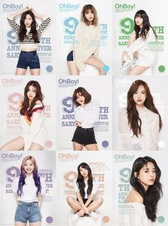The first solo cover by Twice members! To commemorate the anniversary of the launch, nine girls dressed up nicely on the cover of the ninth anniversary edition! Kpop Girl Groups, Korean Girl Groups, Kpop Girls, Got7 Bambam, Mamamoo, Shinee, Baekhyun, Twice Group, Twice Album