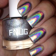 this is undoubtedly the most strongly holographic polish i've ever seen; even if it's sheer, it'd make an awesome topcoat. FNUG is apparently a Danish brand - by Karianna71 @ MUA
